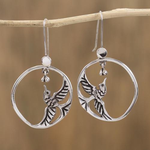 Sterling Silver Hummingbirds in Circle Frame Dangle Earrings 'Delicate Hummingbird'