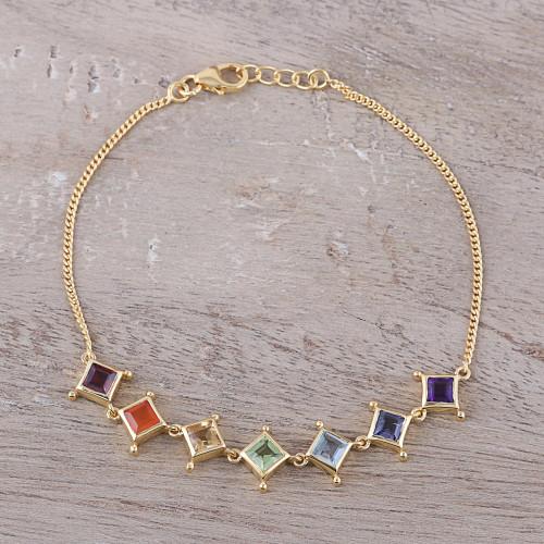 22k Gold Plated Multi-Gemstone Chakra Link Bracelet 'Wellness'