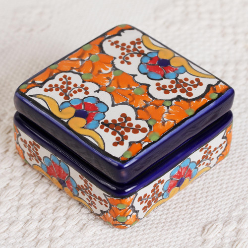 Ceramic Decorative Box with Orange Floral Motifs from Mexico 'Orange Flowers'
