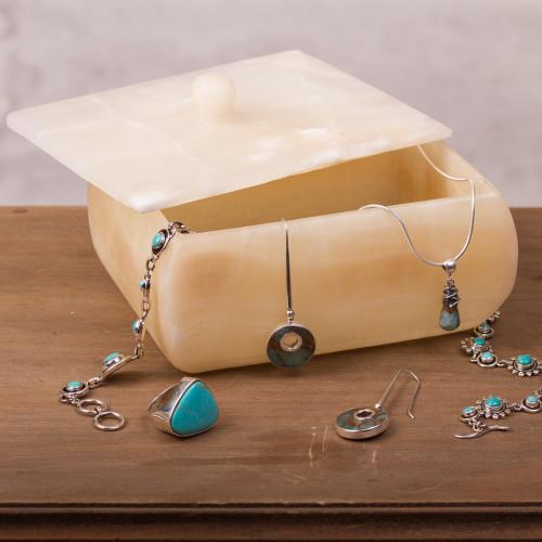 Handmade Onyx Decorative Box from Mexico 'Rich Earth'