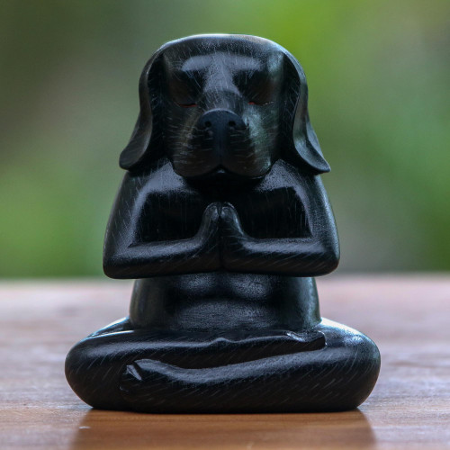 Wood Yoga Beagle Statuette in Black from Bali 'Black Yoga Beagle'