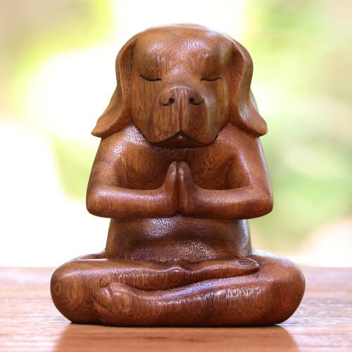 Yoga Meditation Brown Beagle Hand Carved Wood Statuette 'Yoga Beagle'