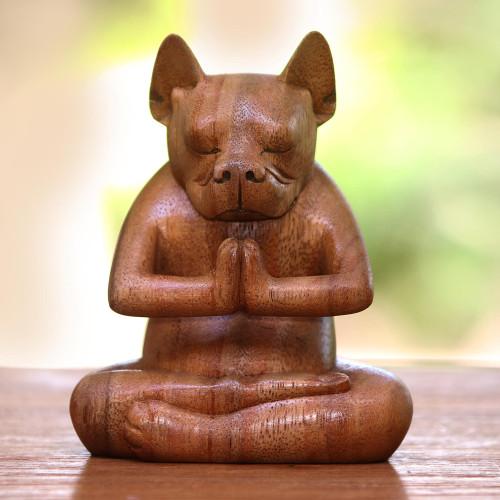 Yoga Meditation Brown Boston Terrier Handmade Wood Statuette 'Yoga Boston Terrier in Brown'