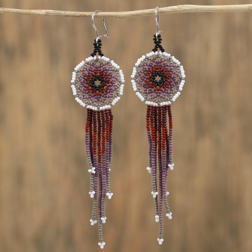 Handcrafted Glass Beaded Waterfall Earrings from Mexico 'Dark Rain'