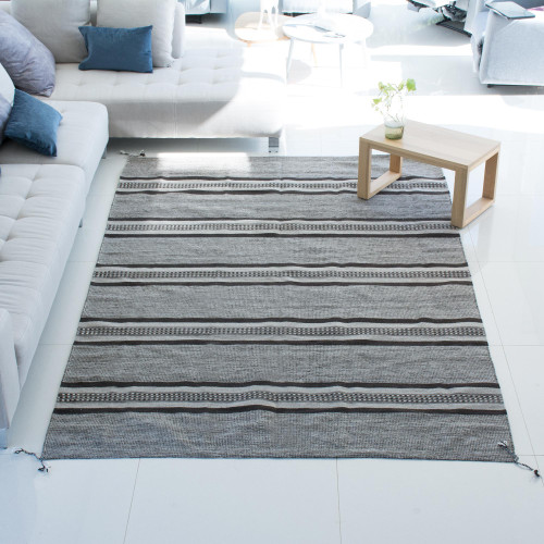 Striped Wool Area Rug in Taupe and Espresso from Mexico 'Mexican Confection'