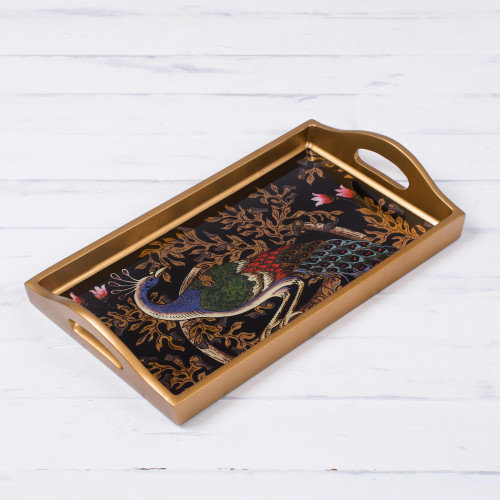 Handcrafted Colorful Peacock Reverse-Painted Glass Tray 'Peacock Presentation'