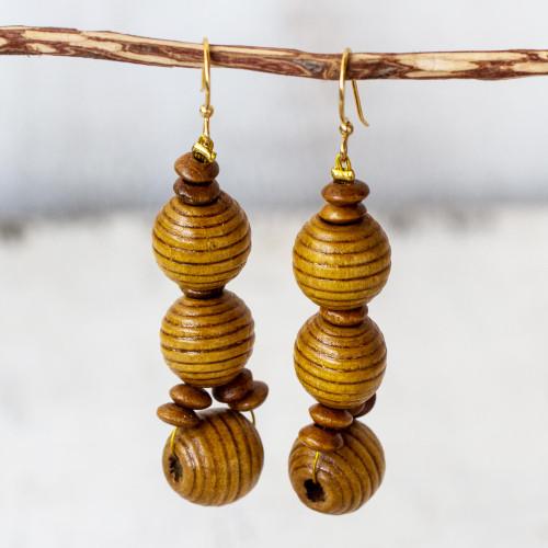 Handmade Wood Beaded Dangle Earrings from Ghana 'Abide'