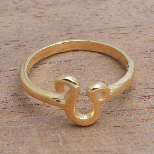 18k Gold Plated Sterling Silver Leo Band Ring 'Golden Leo'