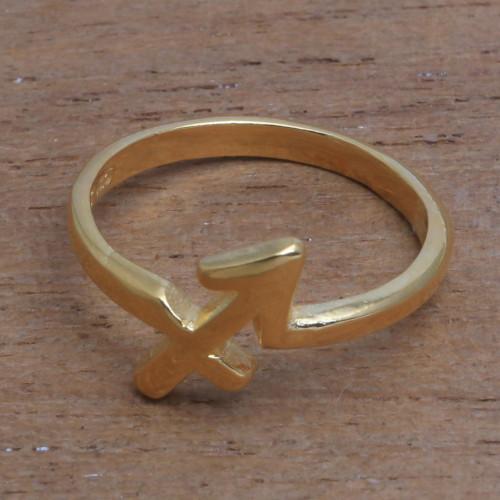 18k Gold Plated Sterling Silver Sagittarius Band Ring 'Golden Sagittarius'