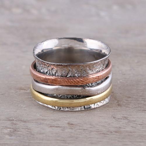 Sterling Silver Copper Brass Meditation Spinner Ring 'Trio Treasure'
