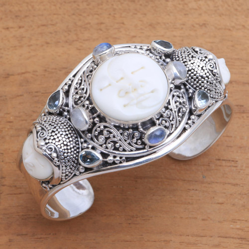 Rainbow Moonstone and Blue Topaz Cuff Bracelet from Bali 'Keeper of the Moon'