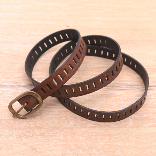 Handmade Brown Leather Belt from Bali 'Bold Chemistry'