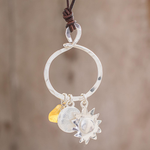Citrine and Fine Silver Sun Pendant Necklace from Guatemala 'Sunlight Guardian'