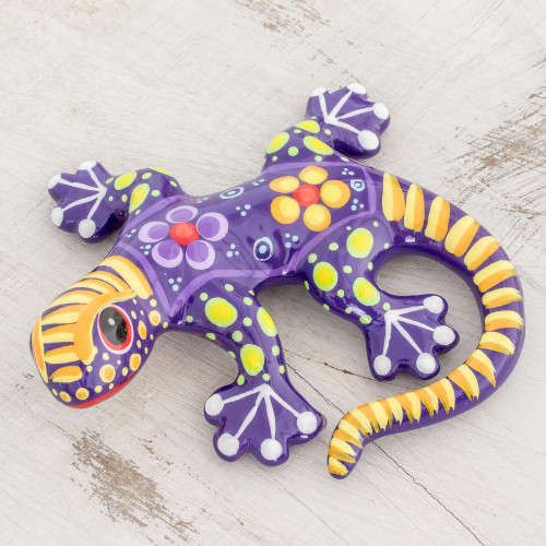 Hand Painted Purple and Yellow Floral Motif Ceramic Gecko 'Gecko of the Garden in Purple'