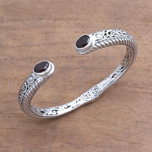 Garnet Sterling Silver Scroll and Rope Motif Cuff Bracelet 'Treasure Trove'