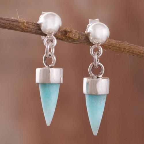 Amazonite Cone Dangle Earrings from Peru 'Natural Cones'