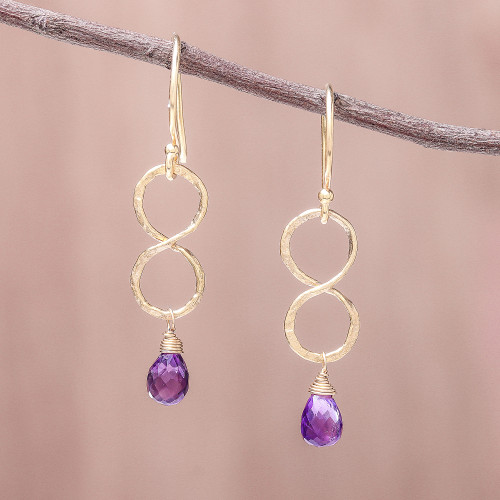 Gold Plated Amethyst Infinity Dangle Earrings from Thailand 'Purple Infinity'