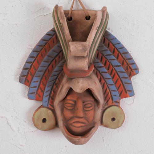 Earthtone Noble Eagle Warrior Handcrafted Ceramic Wall Mask 'Noble Eagle'