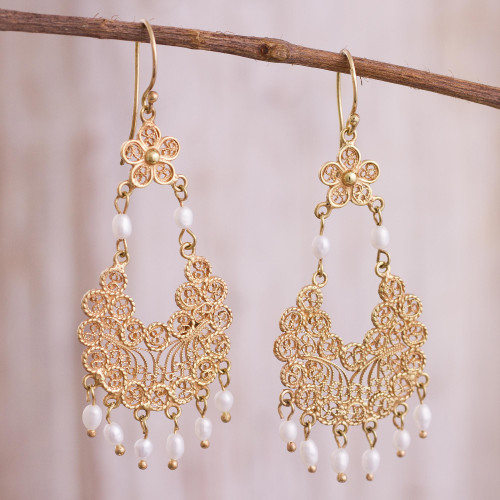 24k Gold Plated Cultured Pearl Filigree Chandelier Earrings 'Artisanal Gala'
