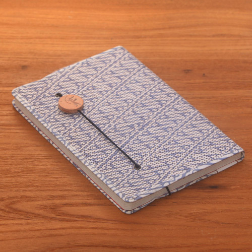 Blue-Grey and White Cotton Cover Journal with Recycled Paper 'Archer Scribe'