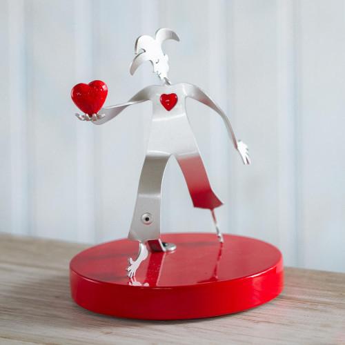 Aluminum Harlequin Sculpture Offering Red Heart of Love 'Love Offering'