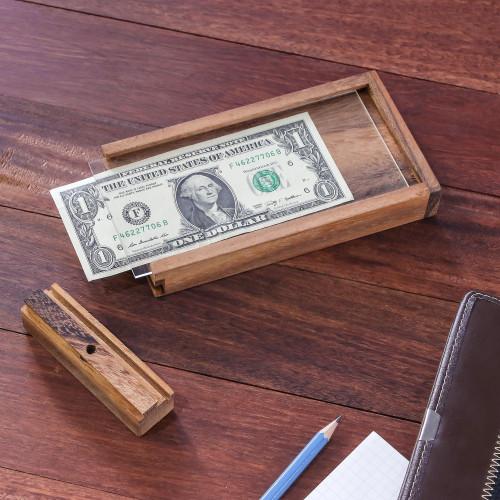 Handmade Raintree Wood Money Puzzle from Thailand 'Magic ATM'