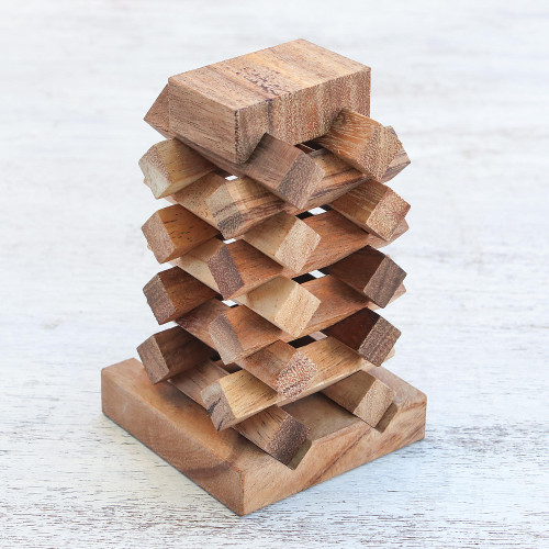 18-Piece Raintree Wood Tower Puzzle from Thailand 'Tower of Pisa'