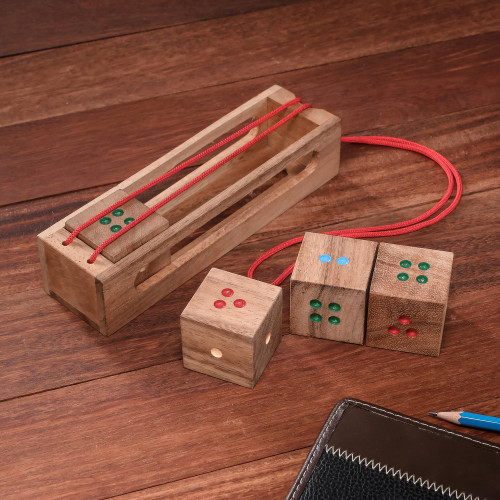 Raintree Wood Dice Brain Teaser Puzzle from Thailand 'Domino Cubes'