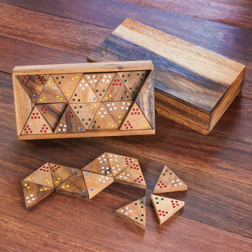 Wood 3-Sided Domino Set Crafted in Thailand 'Triple Threat'