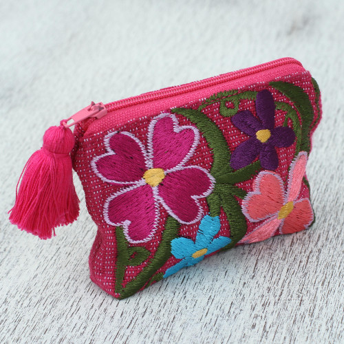 Cotton Colorful Embroidered Floral Motif Coin Purse 'Garden of Treasures'