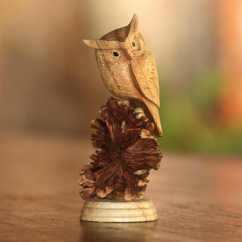 Jempinis Wood Owl Sculpture from Bali 'Perched Owl'