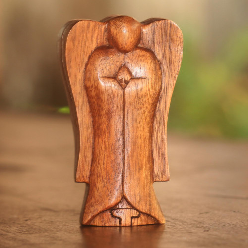 Handmade Suar Wood Angel Puzzle Box from Bali 'Angelic Protection'