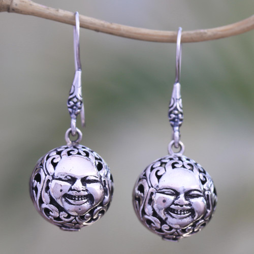 Sterling Silver Face Dangle Earrings from Bali 'Grinning Faces'