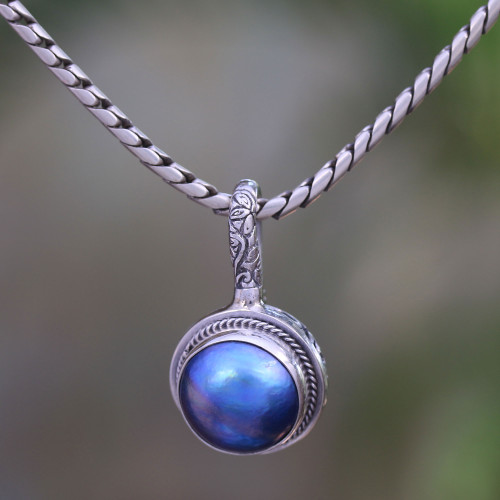 Blue Cultured Pearl Pendant Necklace from Bali 'Round Luxury in Blue'
