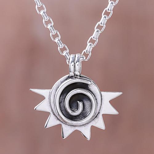 Spiral Pattern Sterling Silver Pendant Necklace 'Sun Spiral'