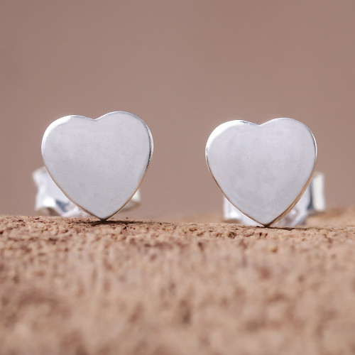 Heart-Shaped Sterling Silver Stud Earrings from Thailand 'Simple Hearts'