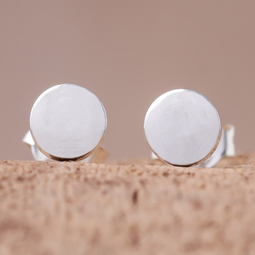 Round Sterling Silver Stud Earrings from Thailand 'Round Simplicity'