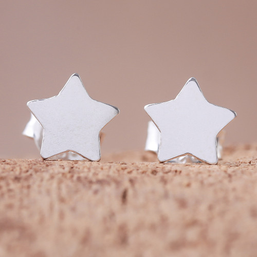 Star-Shaped Sterling Silver Stud Earrings from Thailand 'Simple Stars'