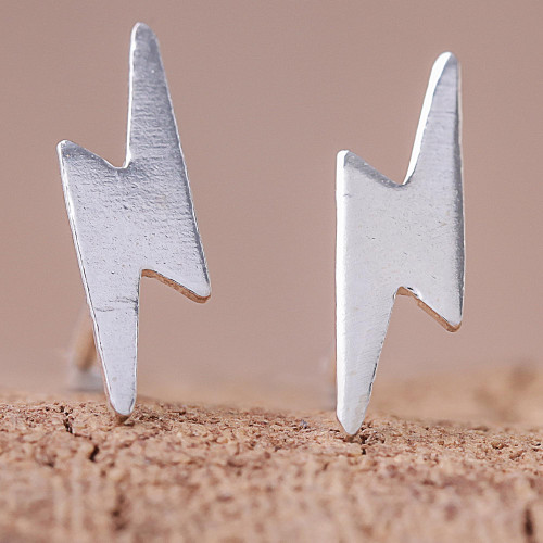 Lightning Bolt Sterling Silver Stud Earrings from Thailand 'Electric Energy'