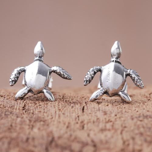 Sterling Silver Sea Turtle Stud Earrings from Thailand 'Sea Turtle Bliss'