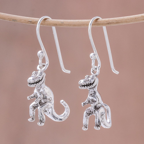 Sterling Silver T-Rex Dangle Earrings from Thailand 'Dinosaur King'