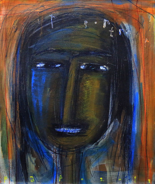 Signed Expressionist Self Portrait Painting from Bali 'Self Portrait'
