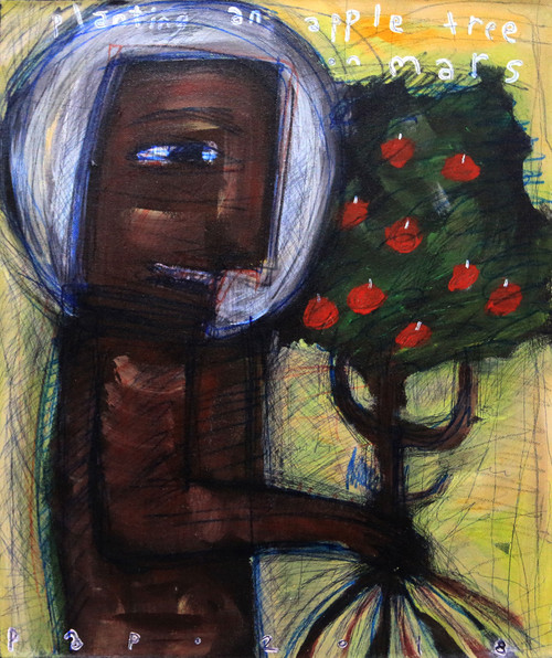 Signed Expressionist Astronaut Painting from Bali 'Planting an Apple Tree on Mars'