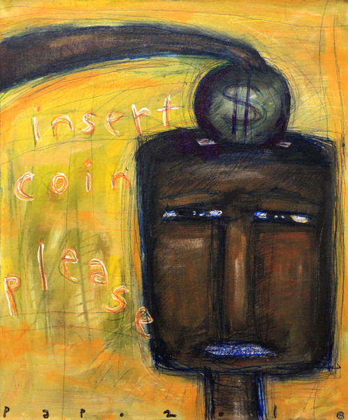 Signed Whimsical Expressionist Painting from Bali 'Insert Coin, Please'