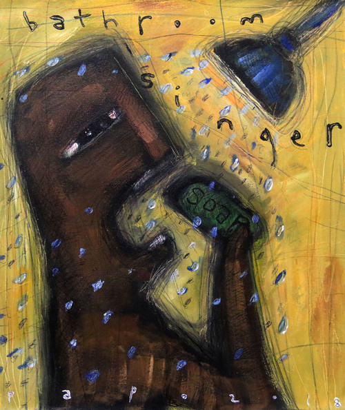 Signed Expressionist Shower Painting from Bali 'Bathroom Singer'