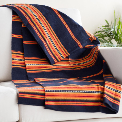 Handwoven Alpaca Blend Throw in Midnight and Sunrise 'Inca Comfort'
