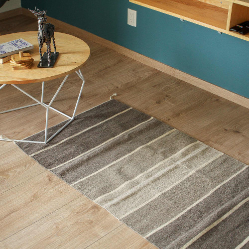 Wool Area Rug with Brown and Grey Stripes 2.5x5 'Sandy Stripes'