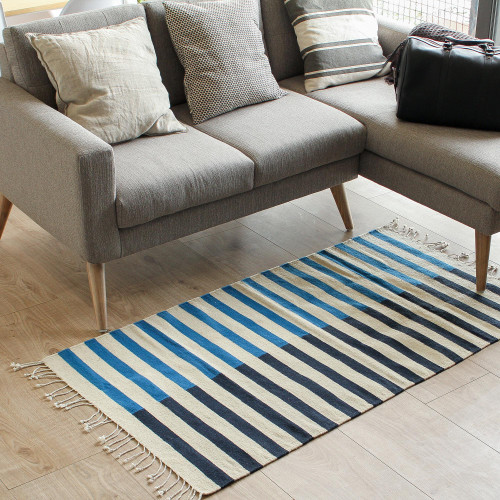 Striped Zapotec Wool Area Rug from Mexico 2.5x5 'Blue Bars'