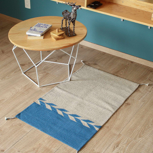 Wool Area Rug in Azure and Khaki from Mexico 2x3 'Under the Sea'