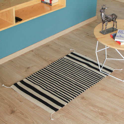 Wool Area Rug with Ivory and Ebony Stripes from Mexico 2x3 'Lines of Time'